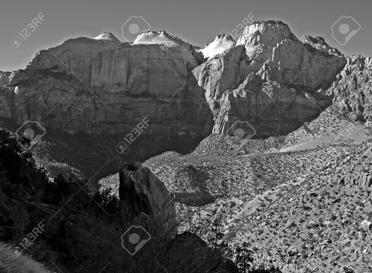 The zion national park in utah usa in black and white stock photo 1483269