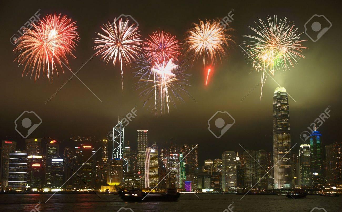 Hong Kong skyline with a firework illustration Stock Illustration - 3337212