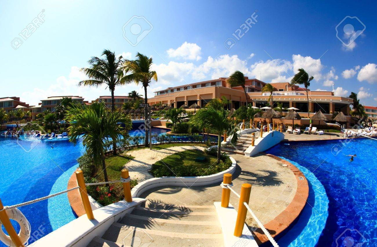 Stock photo a fish eye view of a luxury all inclusive beach resort in cancun mexico