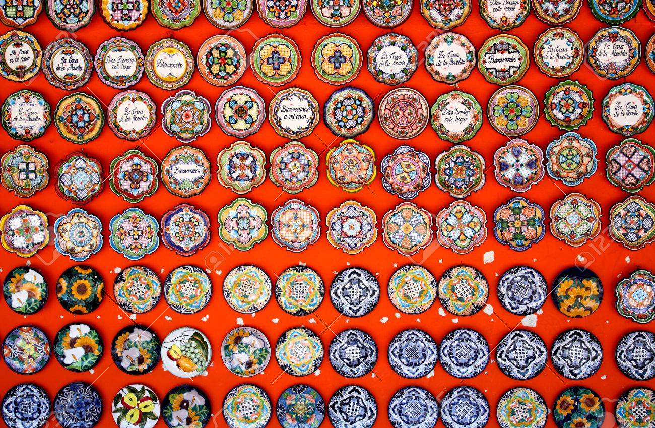 Mexican decoration plates in a Mayan souvenir shop Stock Photo - 4537716 & Mexican Decoration Plates In A Mayan Souvenir Shop Stock Photo ...