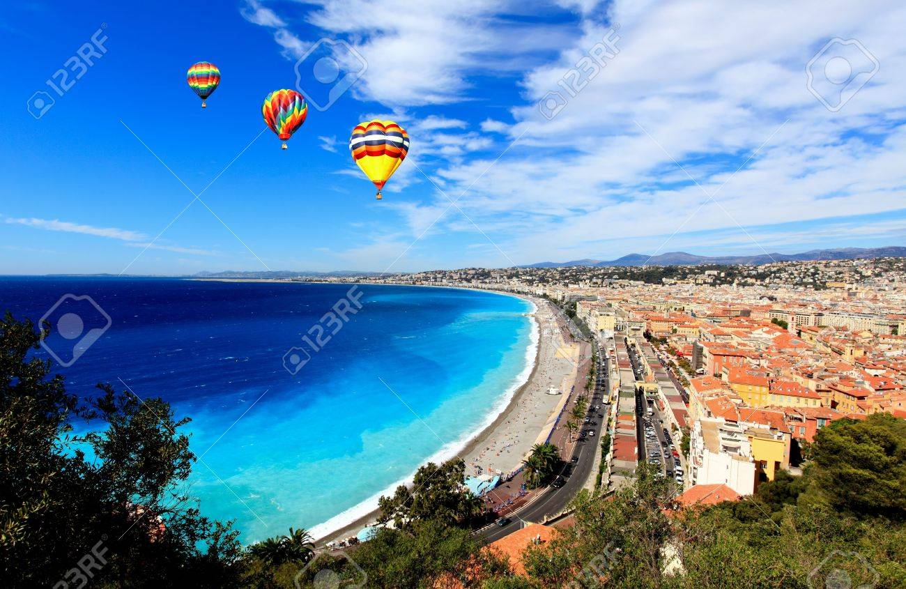 aerial view of beach in Nice France - 6345497