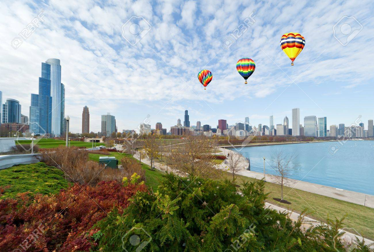 The Chicago Skyline along the lake shore Stock Photo - 8341696