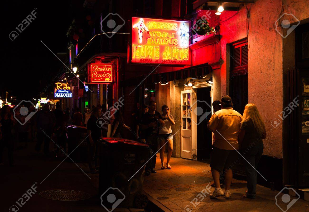 NEW ORLEANS, USA - APRIL 2: The Bourbon Streets in the French Quarter with crazy nightlife scene, and lined with bars and clubs, where is crowded with tourists and locals on Saturday night April 2, 2011. Stock Photo - 9271934