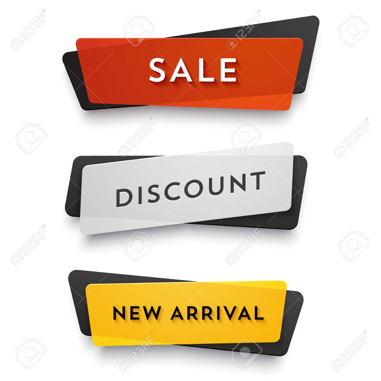 Ecommerce vector banner set. Nice plastic cards in material design style. Transparent black, white, red and yellow paper. - 50664902