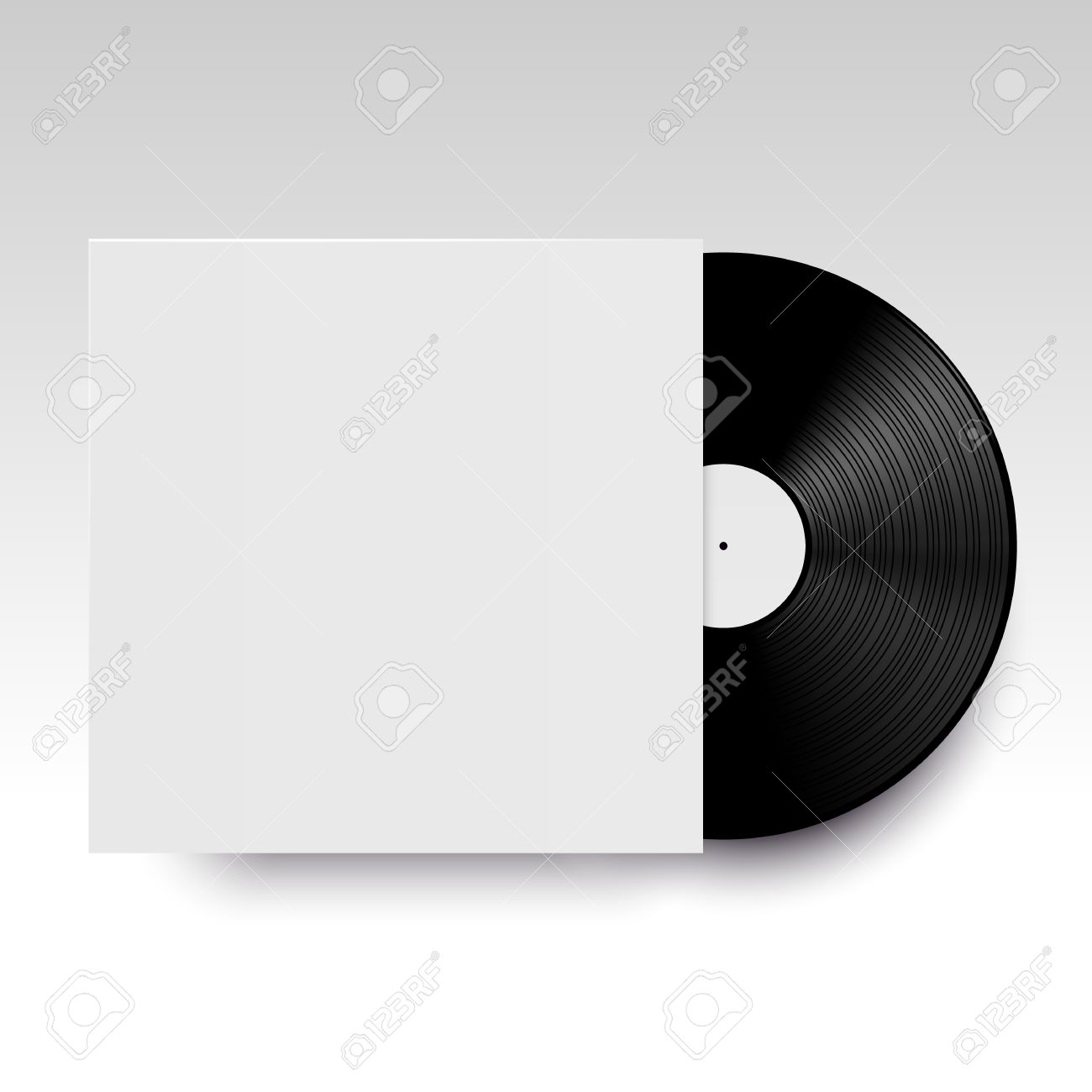 vector isolated vinyl disc with its cover clear template ready