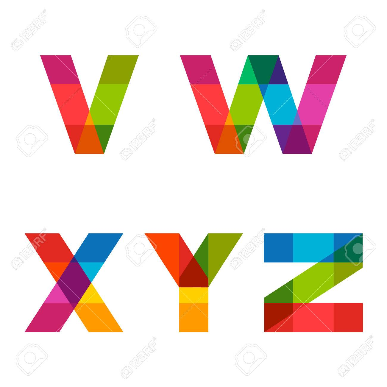 Colorful Alphabet Made Of Overlapping Shapes Beautiful Vivid Capital Latin Letters Ready For Poster
