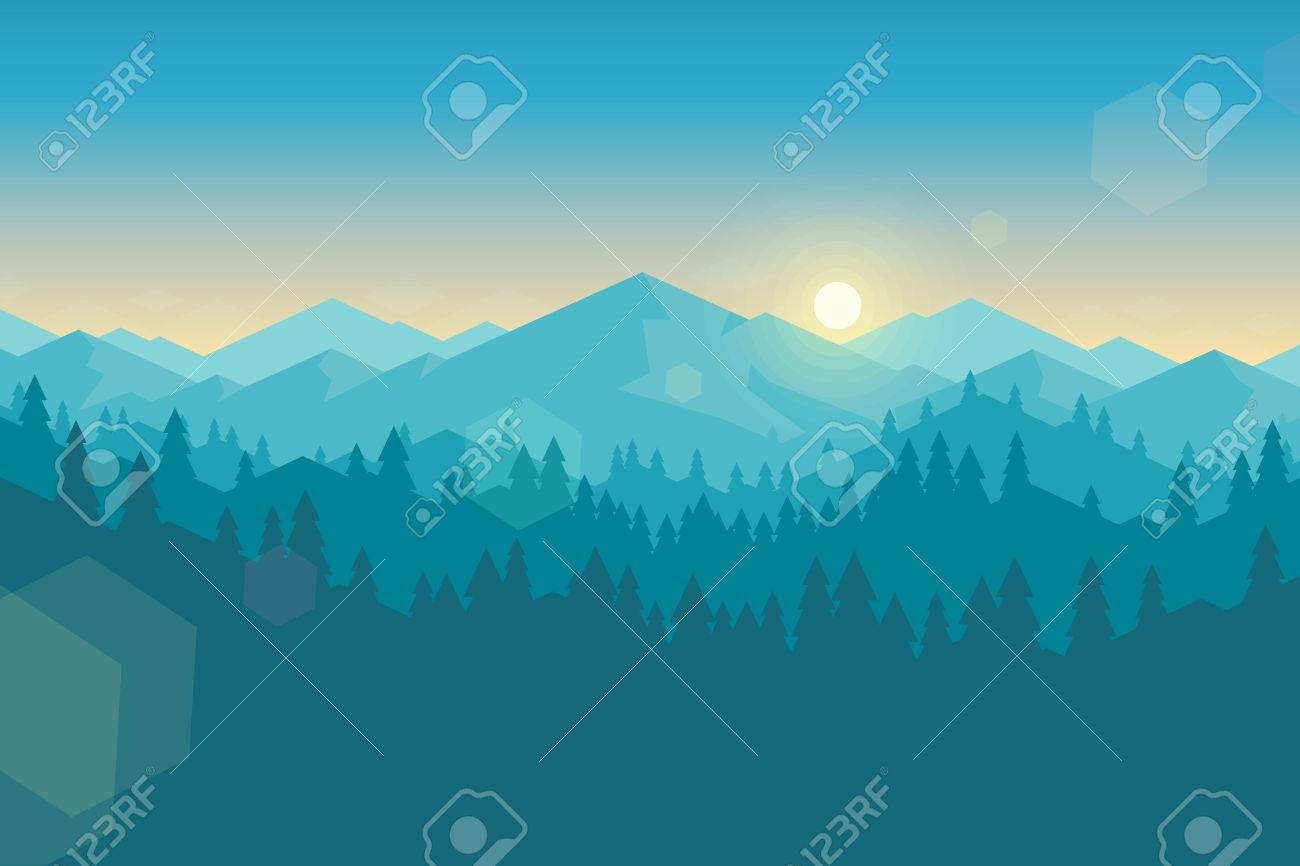 Vector mountains and forest landscape early in the morning. Beautiful geometric illustration. - 53838991