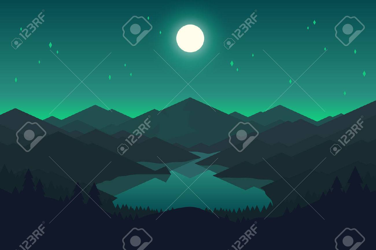 Vector mountains and forest landscape in the night. Beautiful geometric illustration. - 53838996