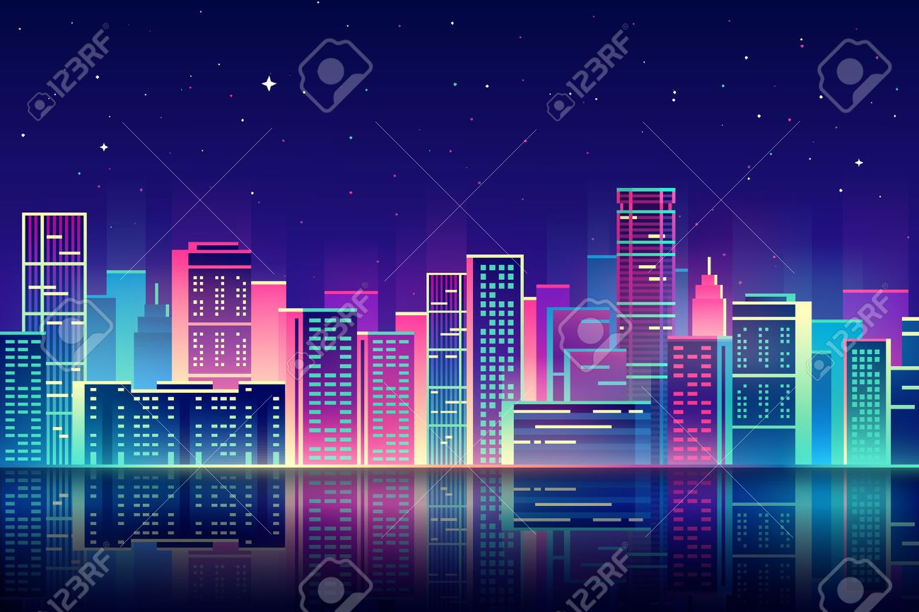 night city illustration with neon glow and vivid colors. - 54270391