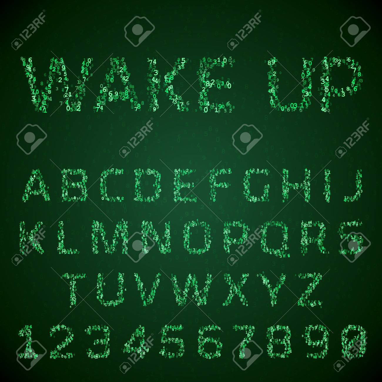 font made of digital numbers  Glowing green symbols hacker style