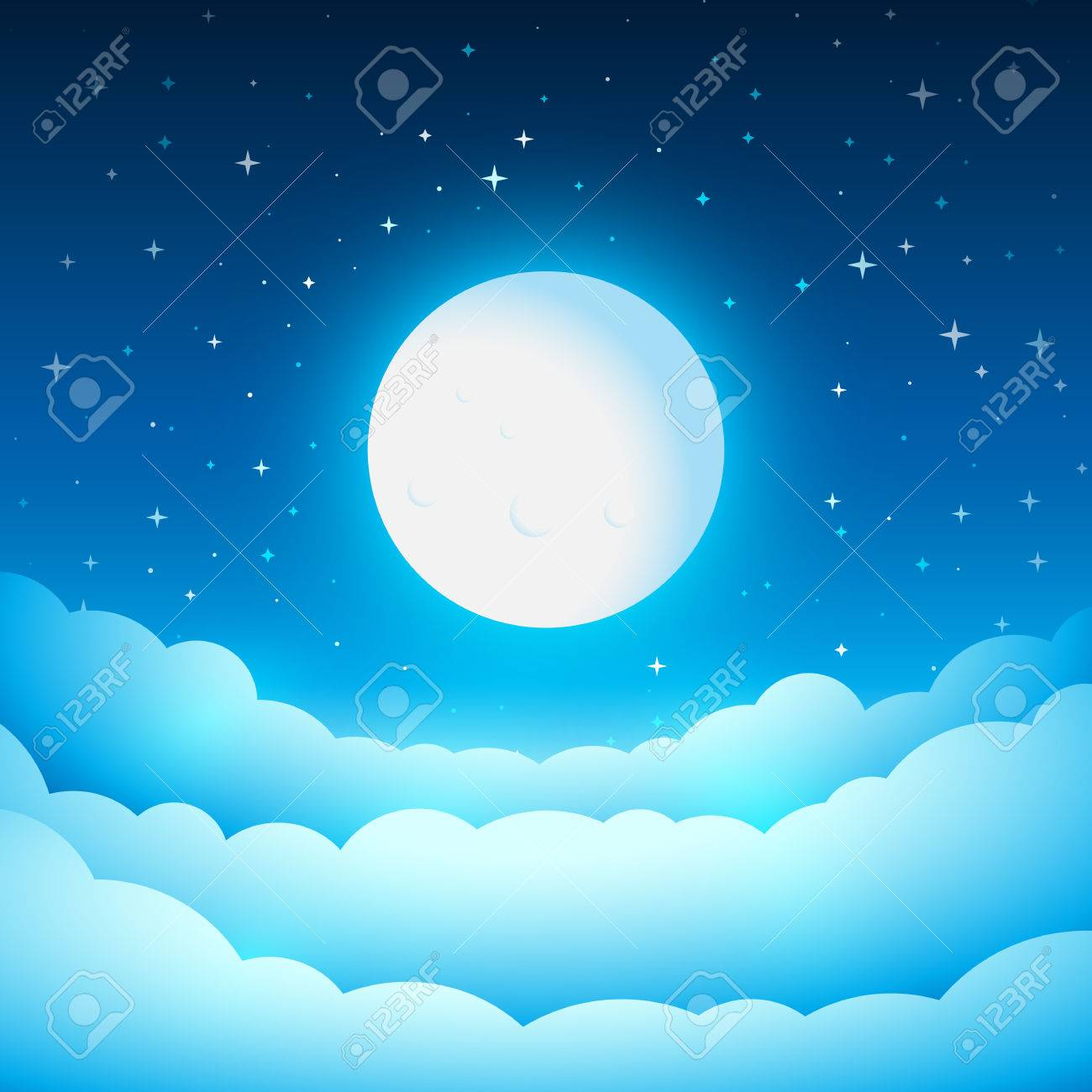 Full moon in the night sky. Fairy Tale cover or background. Bright moonlight above the clouds. Vector dreamy illustration. - 64941553