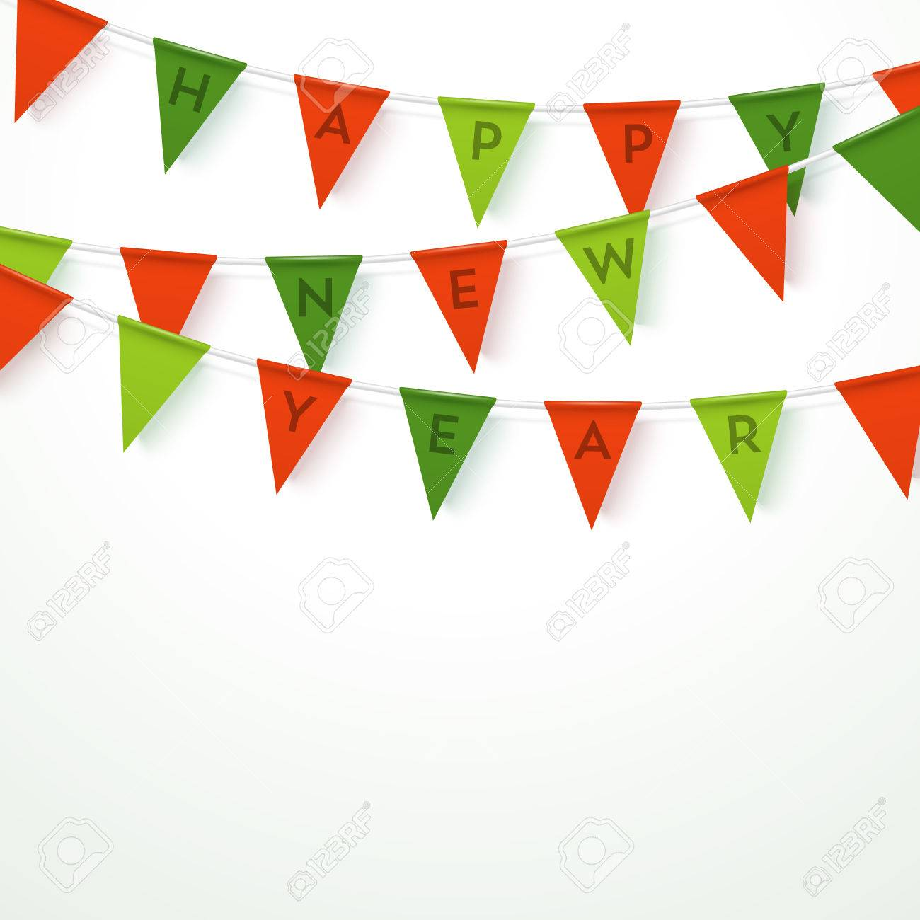colorful realistic vector flag garland with letters saying happy new year 3 different colors