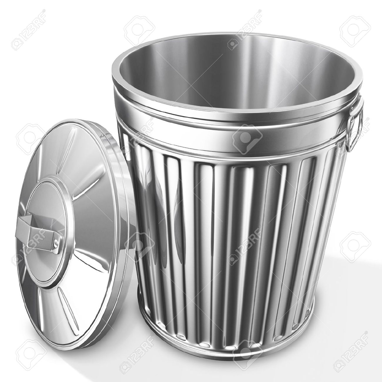 3d Rendered Of Empty Trash Can On White Background With Shadow Stock