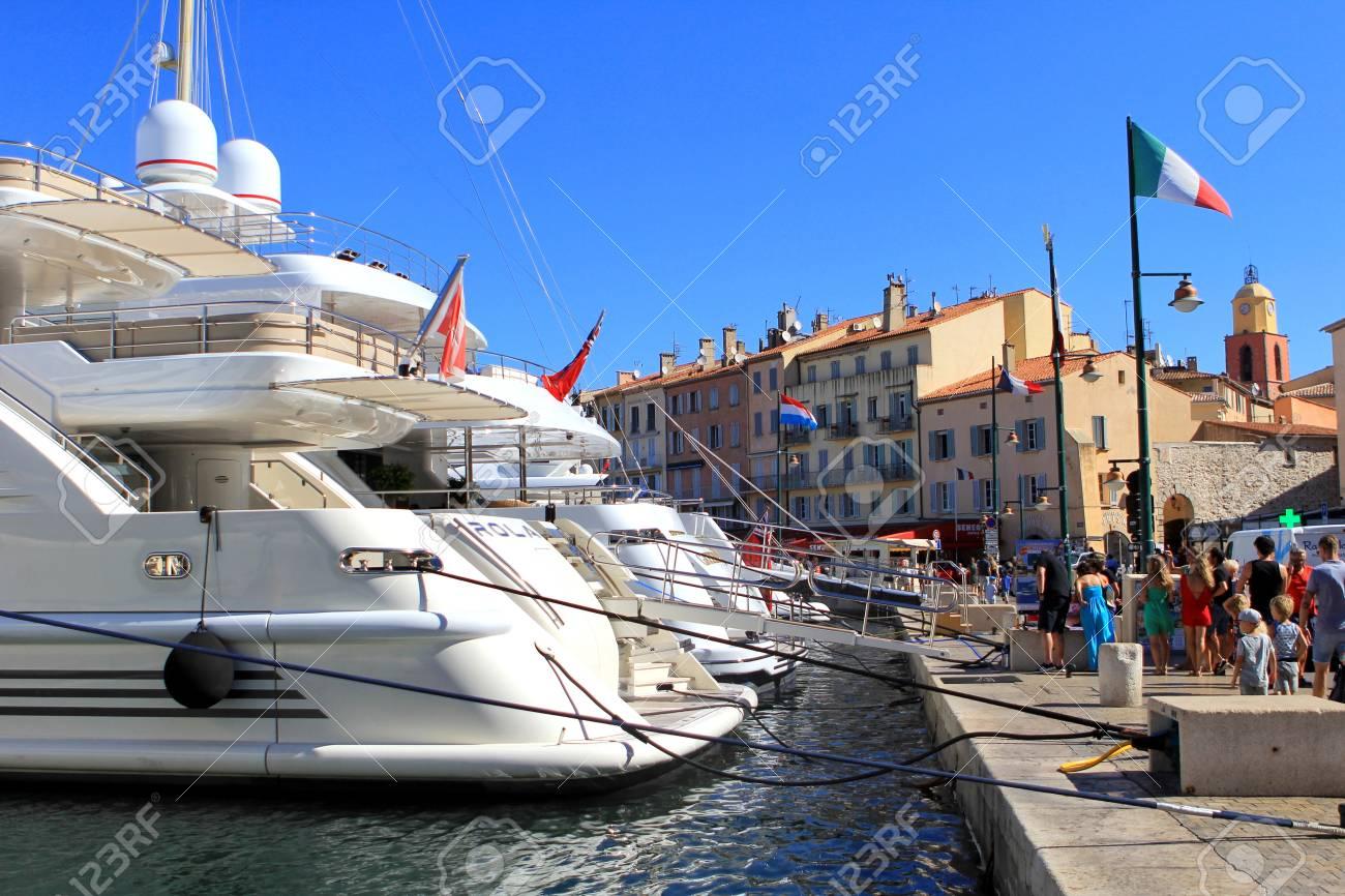 Saint Tropez Provence France August 21 2016 Tourists In