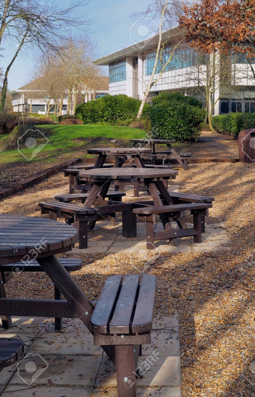 Picnic Area Next To Some Office Buildings On A Business Park Stock - Office picnic table
