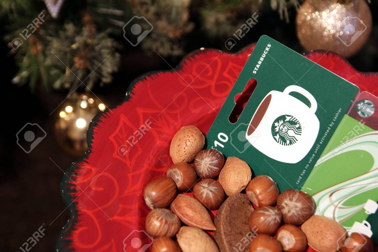 Camberley Uk December 31 2016 Starbucks Coffee Gift Card Stock