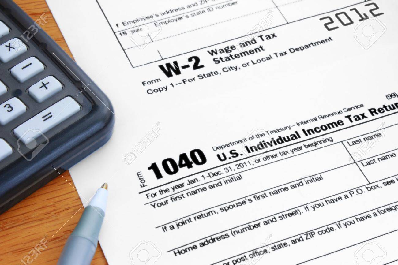 Form 1040 Income Tax And 2012 W-2 Wage Statement Stock Photo ...