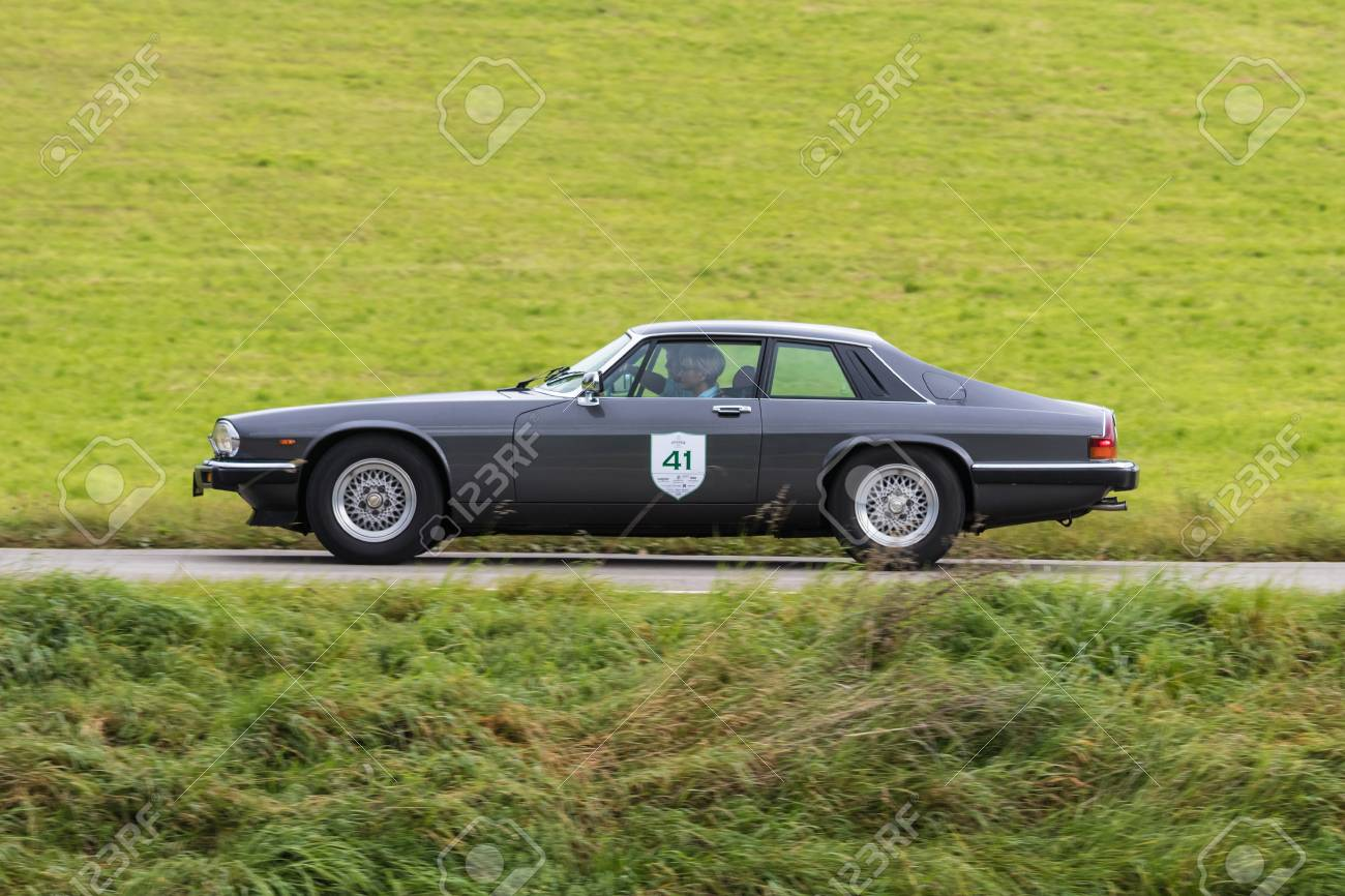 Augsburg, Germany   October 1, 2017: 1985 Jaguar XJS Oldtimer Car At The