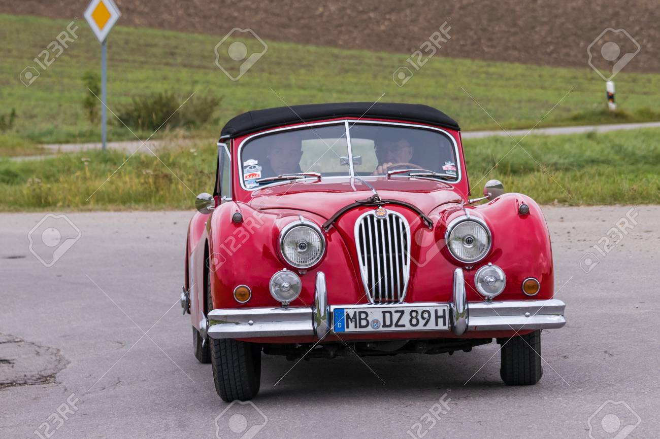 Augsburg, Germany   October 1, 2017: Jaguar Oldtimer Car At The Fuggerstadt  Classic