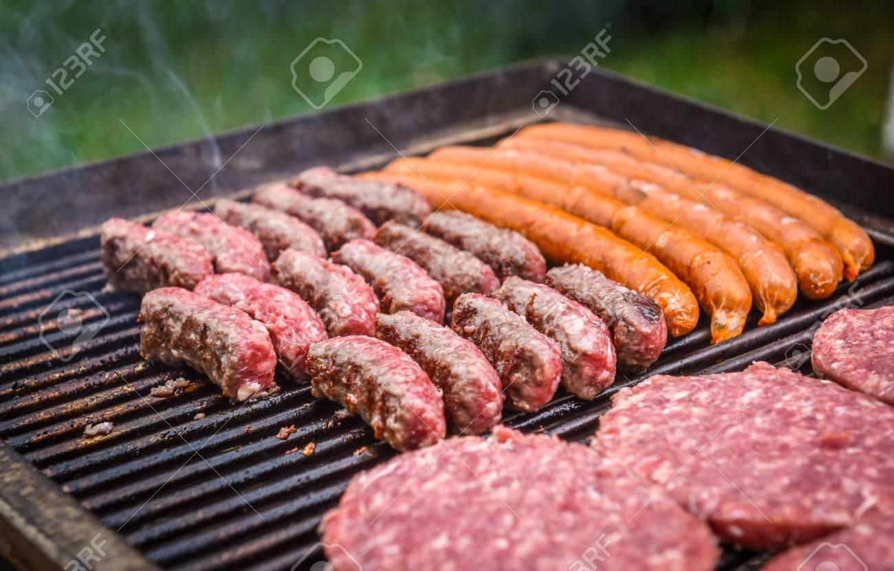Grilling Meat On Barbecue Grill With Coal Cevapcici Burgers Stock Photo Picture And Royalty Free Image Image 45836415