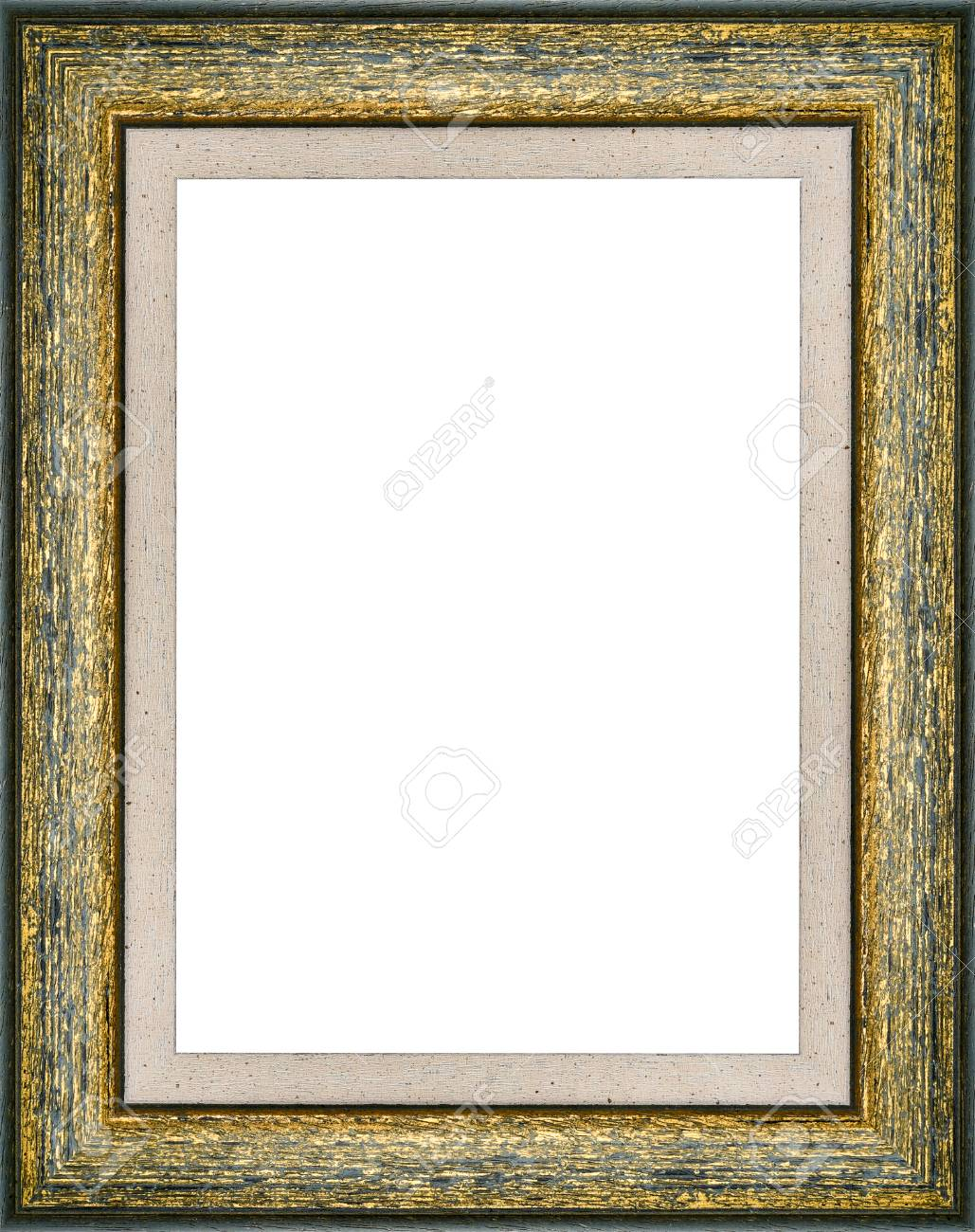 Wooden Green Vintage Picture Frame Isolated On White Background ...