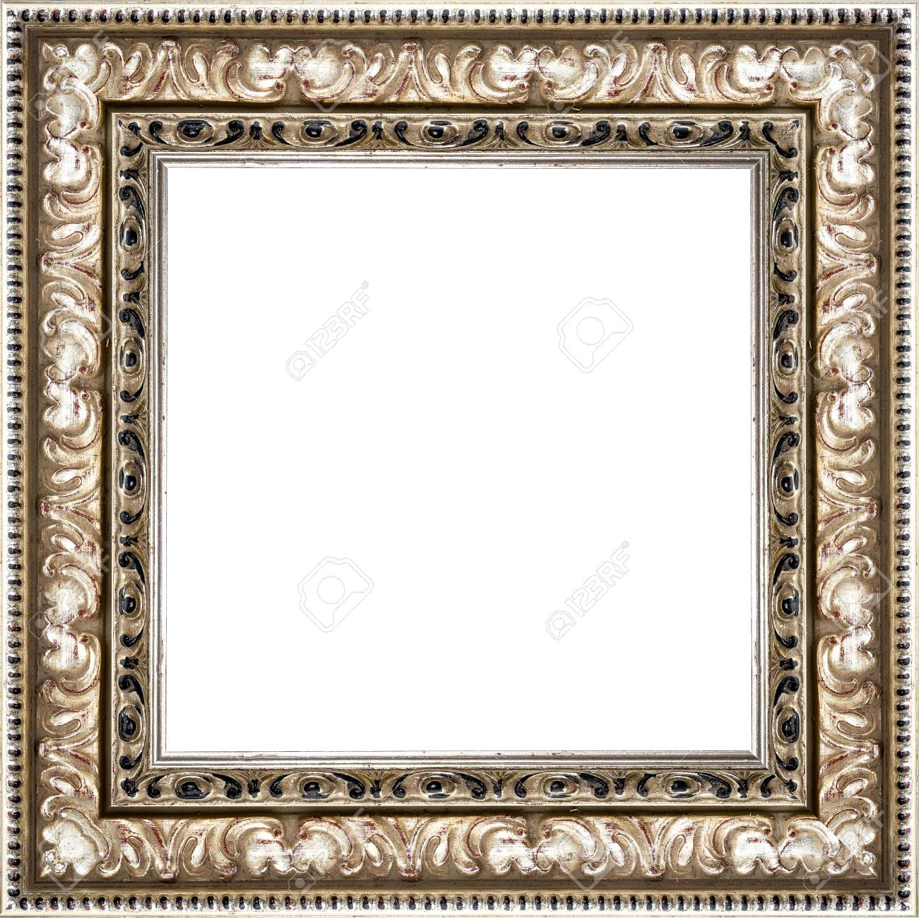 Wooden Silver Vintage Picture Frame Isolated On White Background ...
