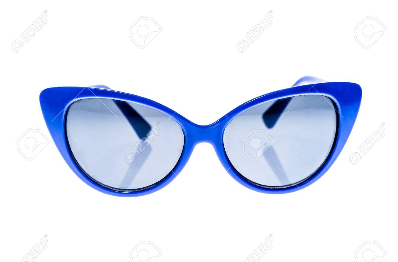 online aquí encontrar el precio más bajo Promoción de ventas Gafas de sol azules niños, gafas de sol o gafas aislados sobre fondo  blanco. niño de color gafas de protección contra los rayos del sol y la  radiación ...