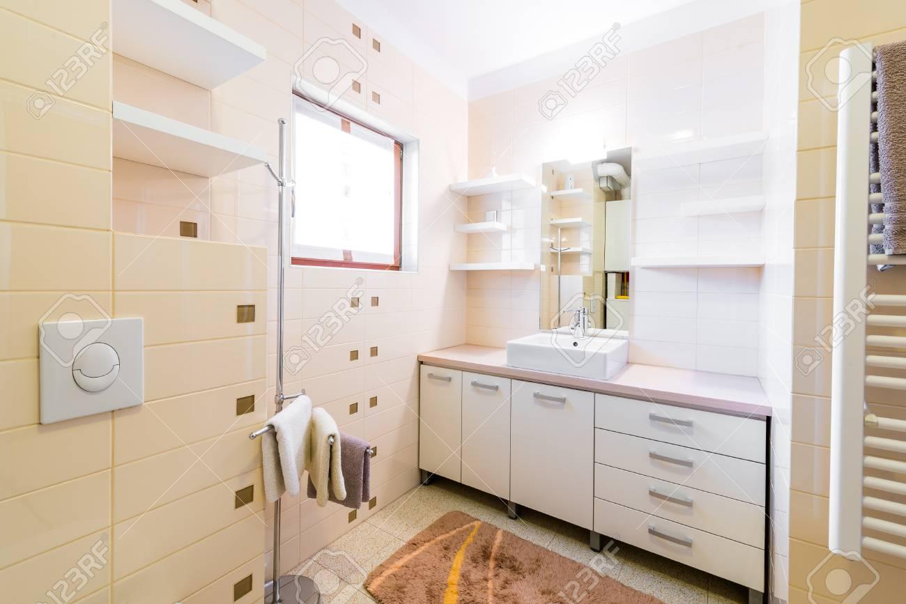 Bain Petit Hôtel Moderne Avec Douche, Lavabo Et Toilettes. Intérieur ...