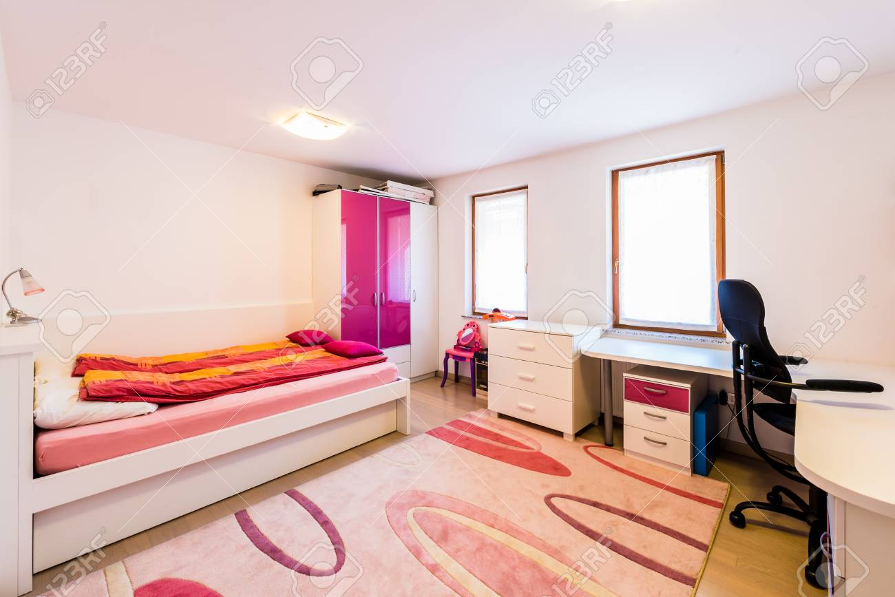 Modern Children Girl Play Room With Bed And Study Desk Cozy Stock Photo Picture And Royalty Free Image Image 76423912