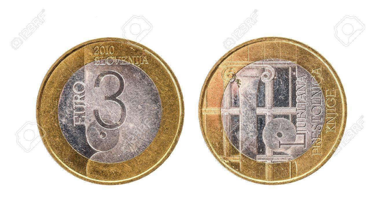 Gebrauchte Gedenkmünze Bimetall 3 Euro â Slowenien Münze 2010