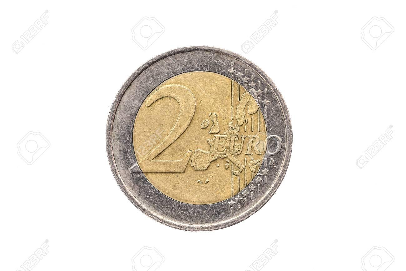 Alte Gebrauchte Und Abgenutzte 2 Euro Münze Münze Der Europäischen