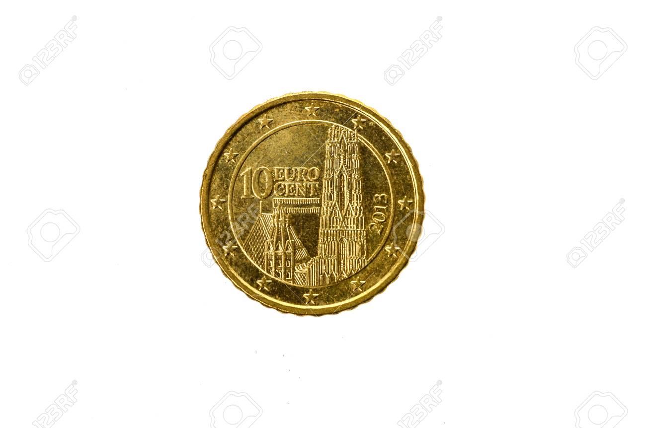 Alte Gebrauchte Und Abgenutzte 10 Cent Euro Münze Münze Der