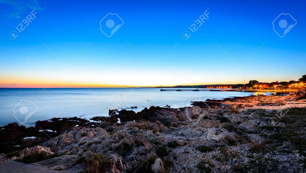 Sunset Evening Landscape Photo Of Marine Port Of Silba Croatia