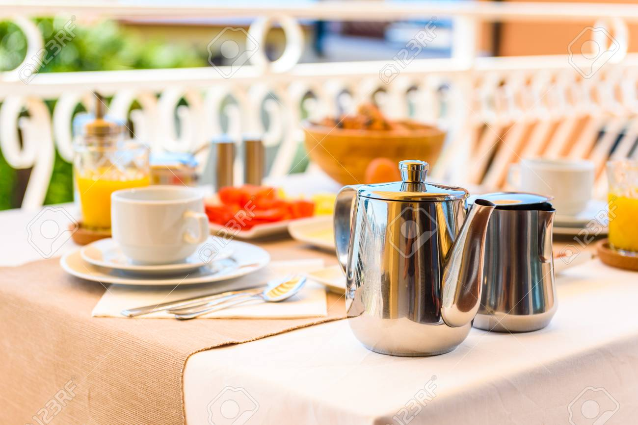 Continental Morning Breakfast Table Setting With Sea View Is.. Stock ...