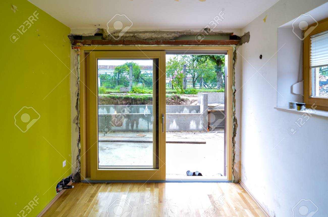 Replacing Brick Wall With Glass Sliding Door In Residential House Stock Photo Picture And Royalty Free Image Image 104117318
