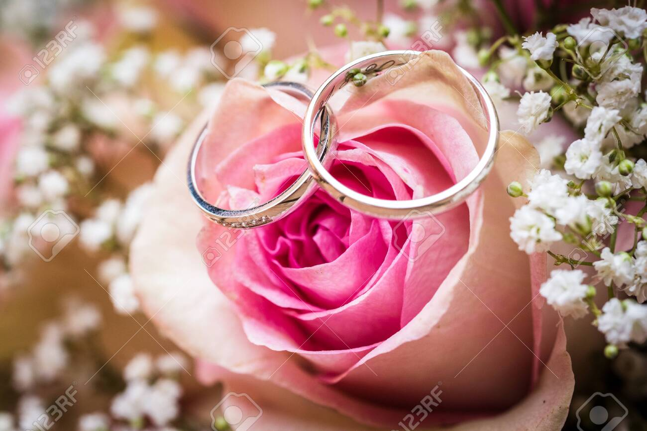 Wedding bouquet with pink roses on wooden table with rings. Wedding rings and beautiful wedding bouquet on natural wooden desk with nature in background. Close up of pink, purple and green flowers - 134415779