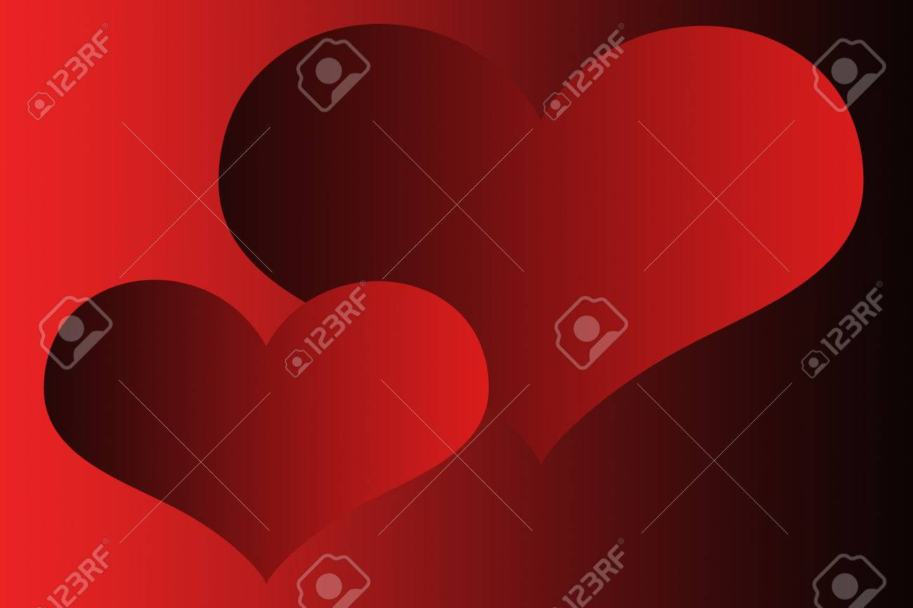 Two Red Hearts On Black Background Wallpapers Stock