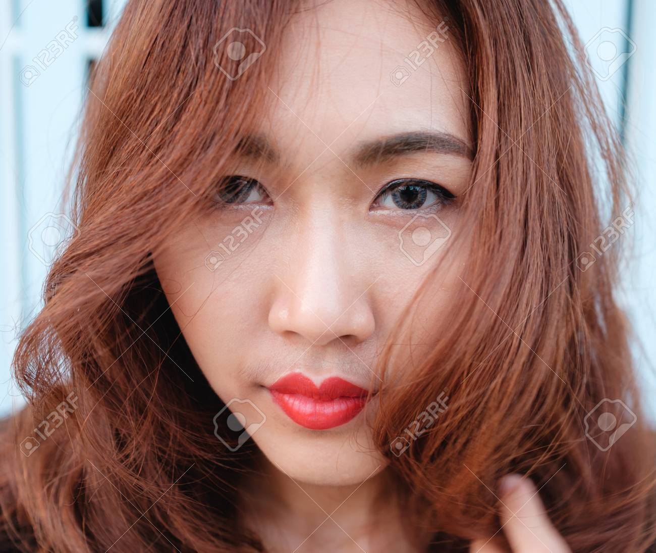 Close Up On Eyes And Face Asian Beauty Hair,Portrait Of Tender Natural  Beautiful Redhead