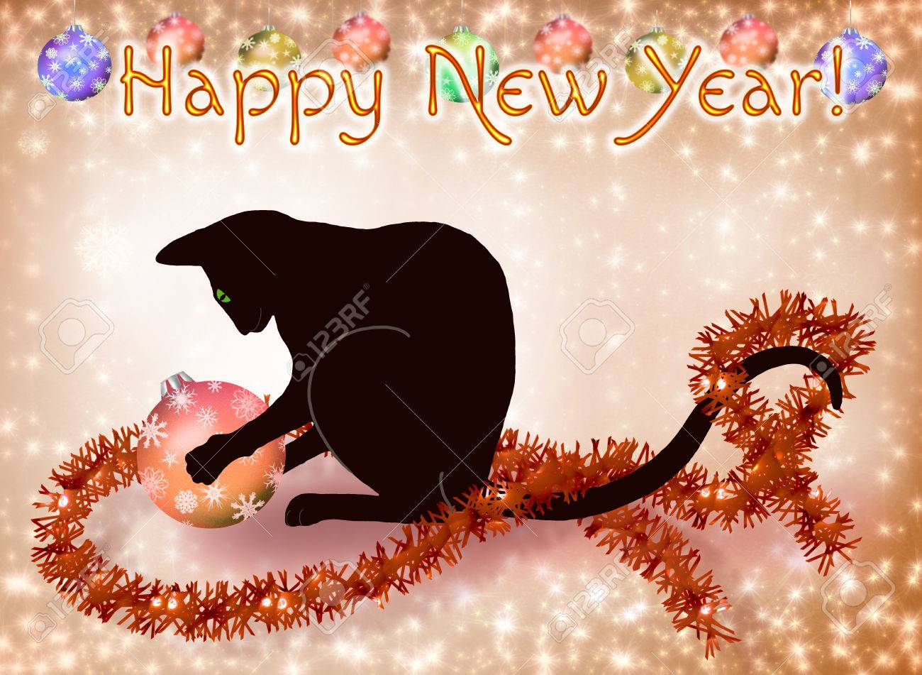 new year card with a black cat playing with a ball stock photo 33676250