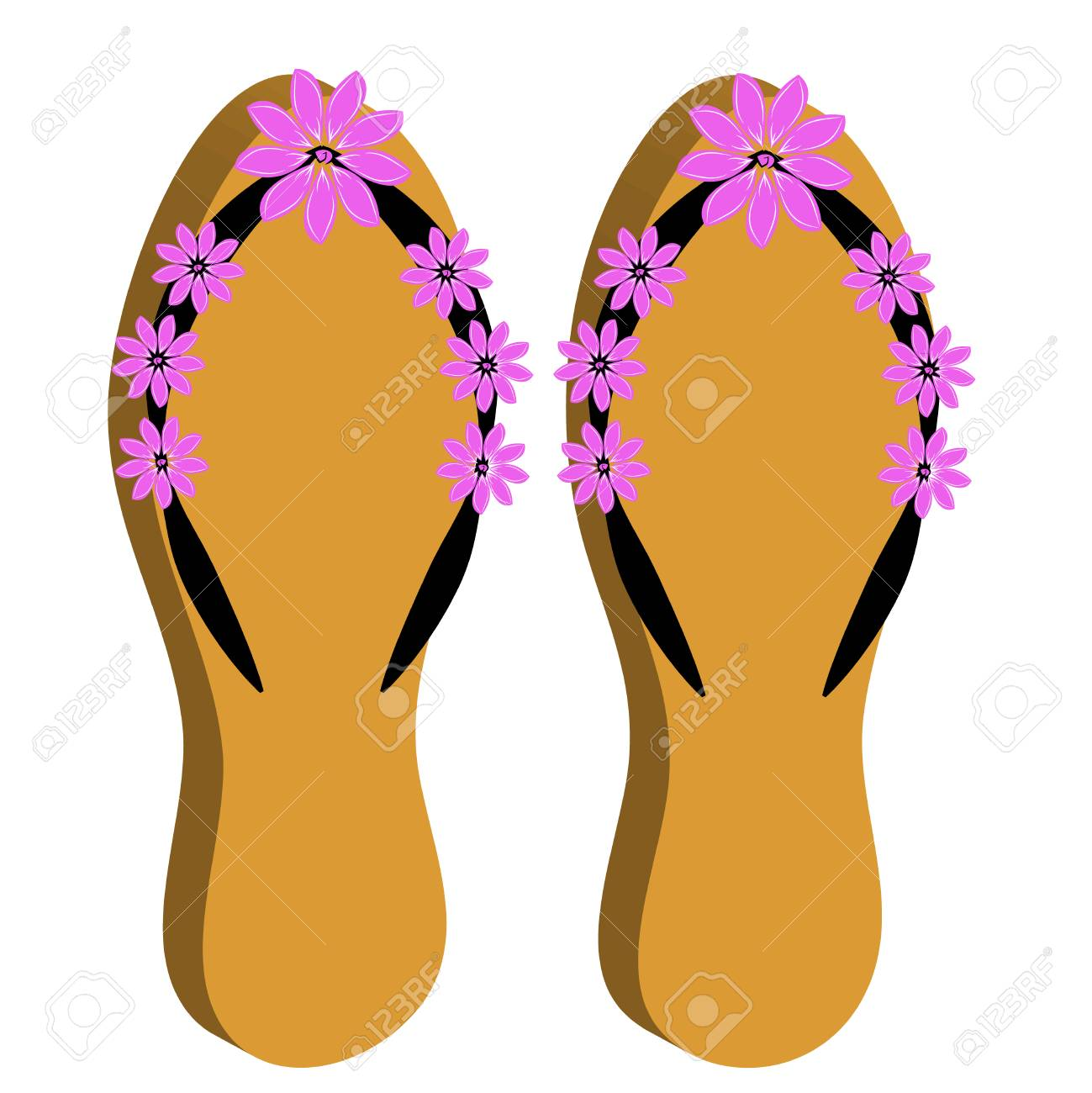 8224141a0f41c 3D beach sandals on white background. Vector illustration Stock Vector -  76709855