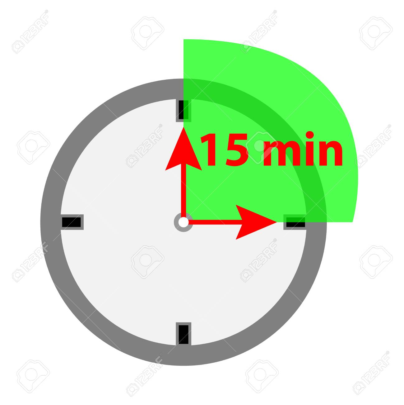 timer icon 15 minutes isolated on white background royalty free