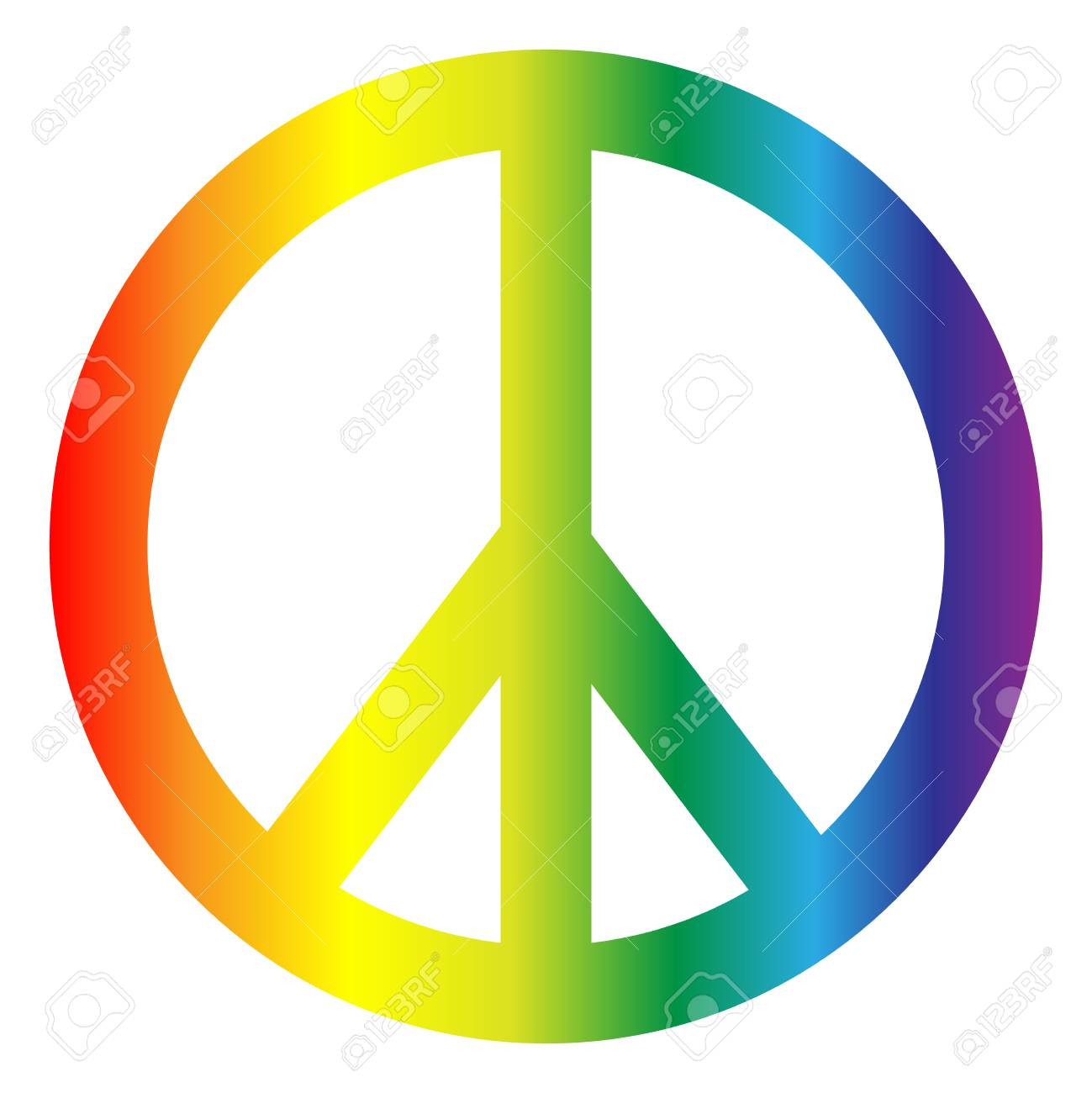 Peace symbol in rainbow colors isolated on white background. - 125665910