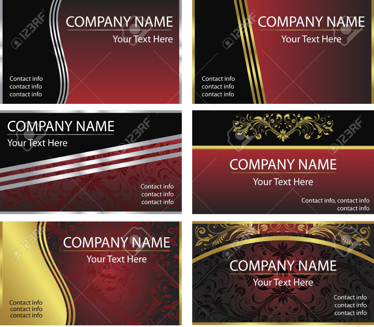 A set of six corporate elegant business card background templates a set of six corporate elegant business card background templates in vector format stock fbccfo Choice Image