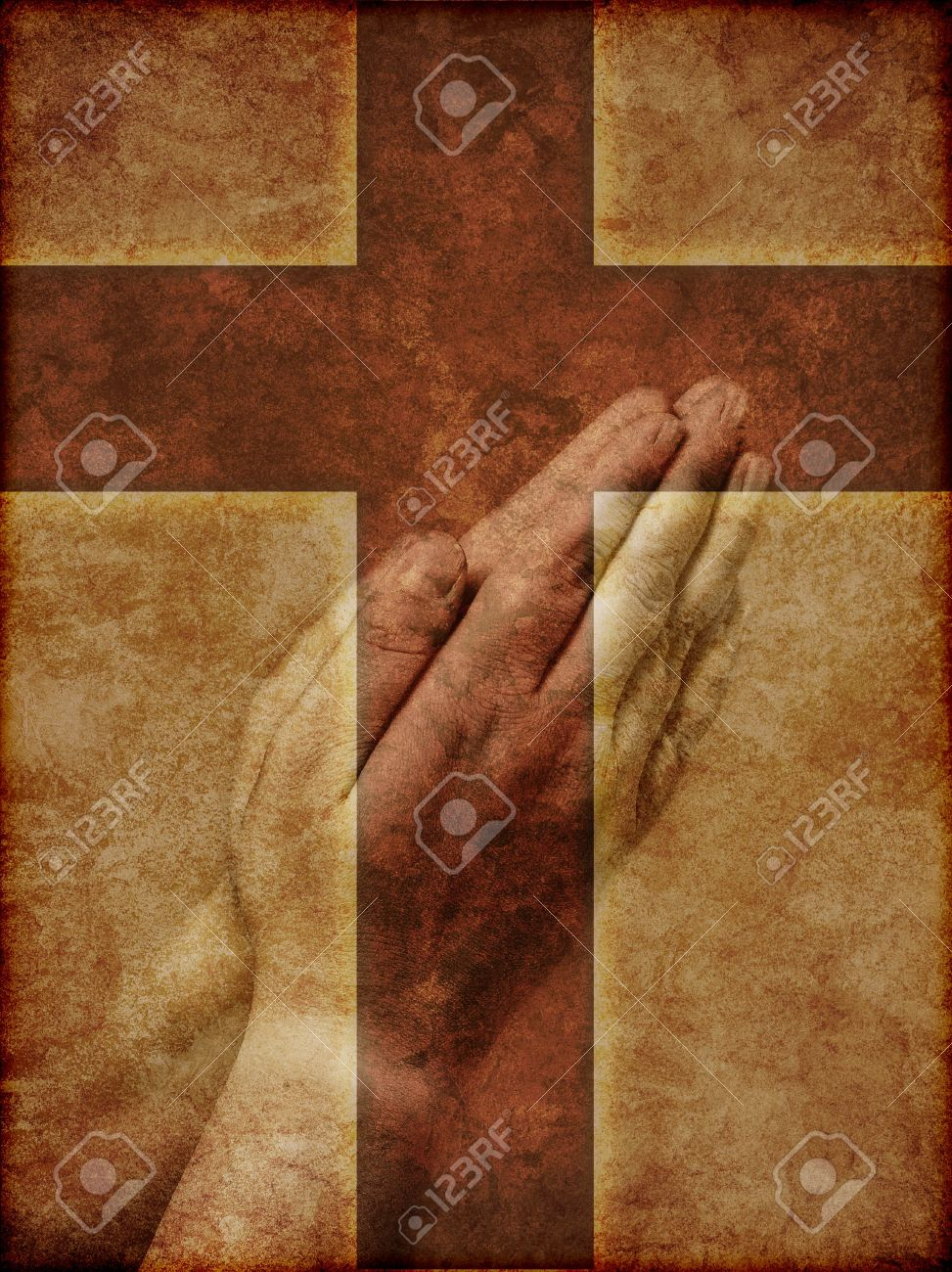 Praying Hands Superimposed over Christian Cross - textured illustration. Stock Illustration - 7633179