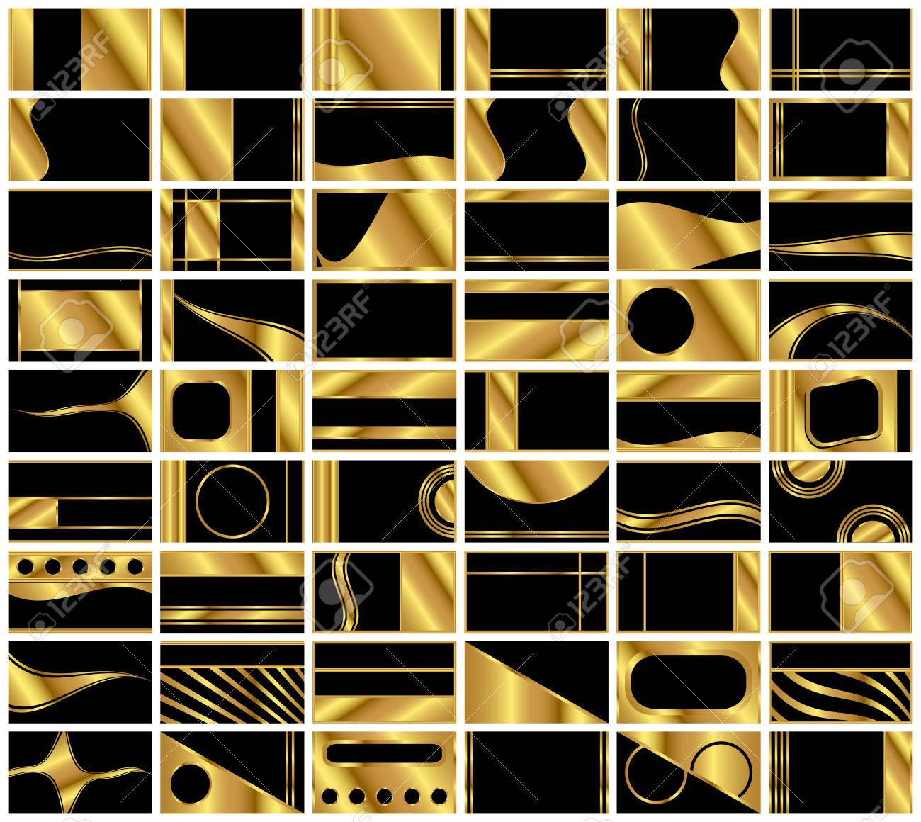 A collection of 54 very elegant business card backgrounds in black and gold. Formatted in standard business card 1.75 aspect ratio. - 8627065