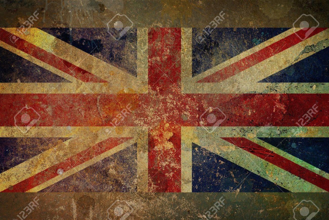 Illustration of a grunge style British flag - Union Jack on rough stone surface - 9369417