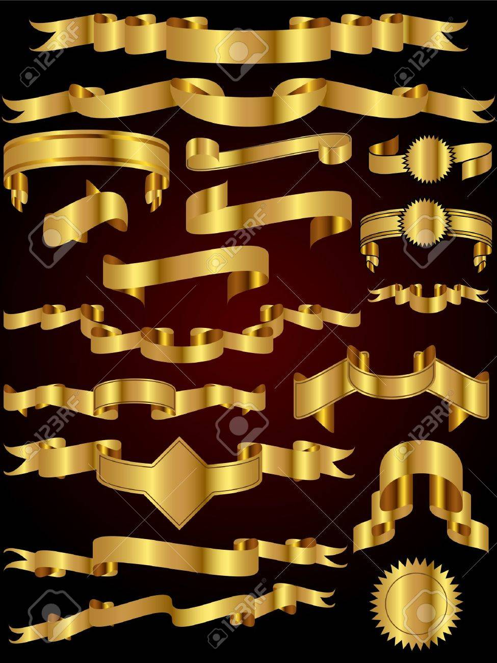 A collection of many gold ribbon vector illustrations perfect for use as design elements - 9717784