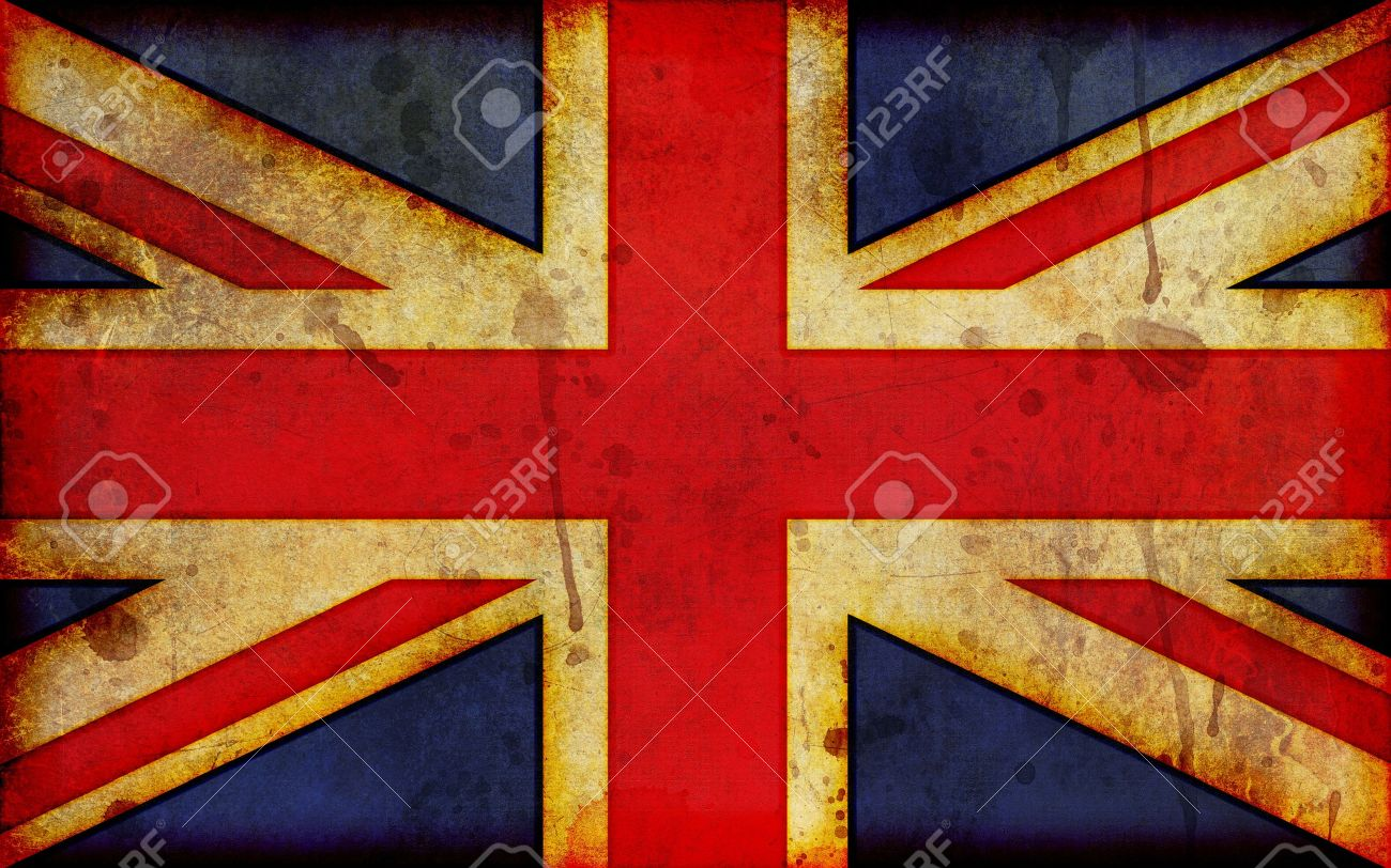 An old, dirty and stained grunge style illustration of the flag of Great Britain, the Union Jack - a widescreen aspect ratio. - 10412133