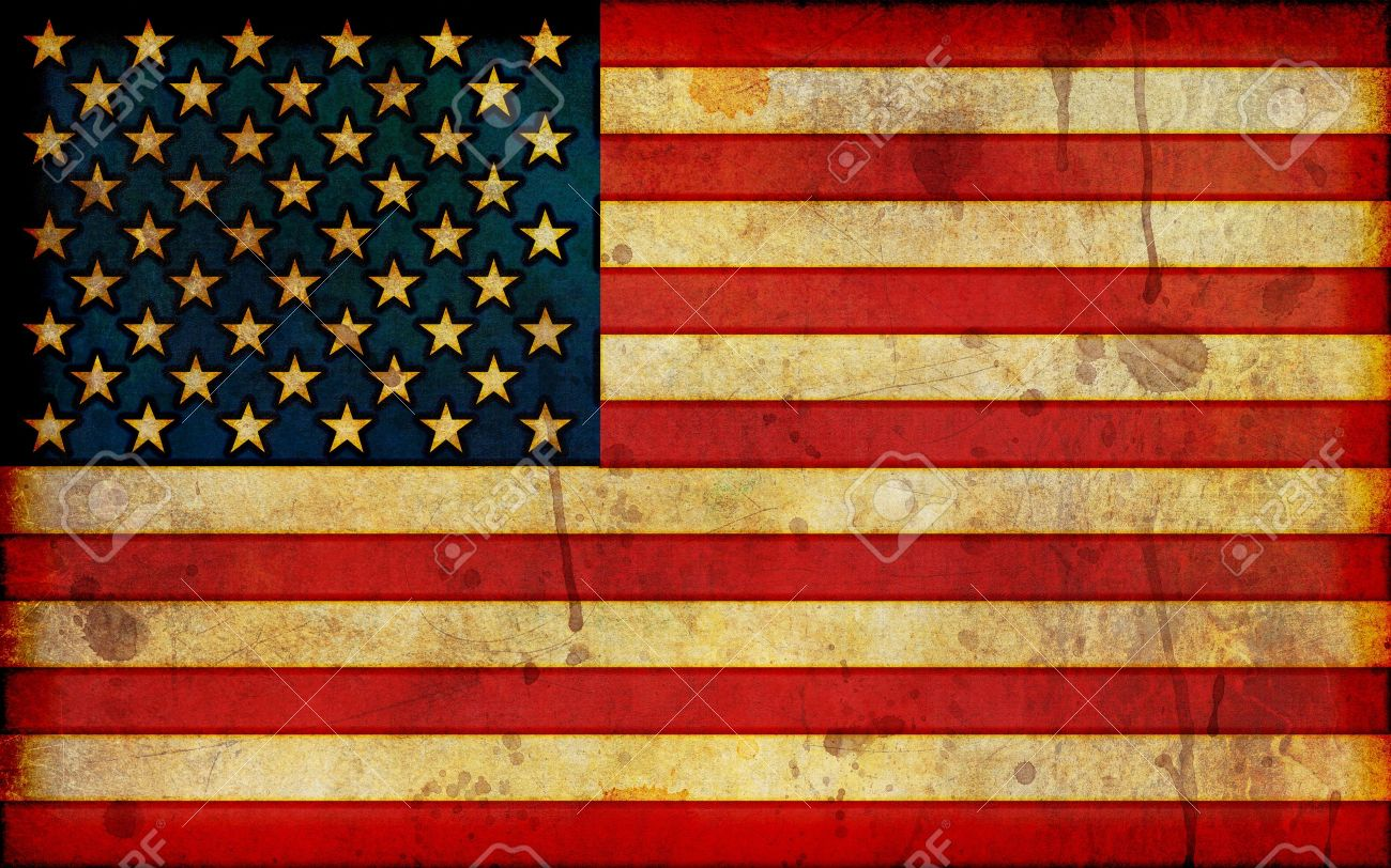 A dirty, stained flag of the United States in a grunge illustration style and in a widescreen aspect ratio. - 10412132