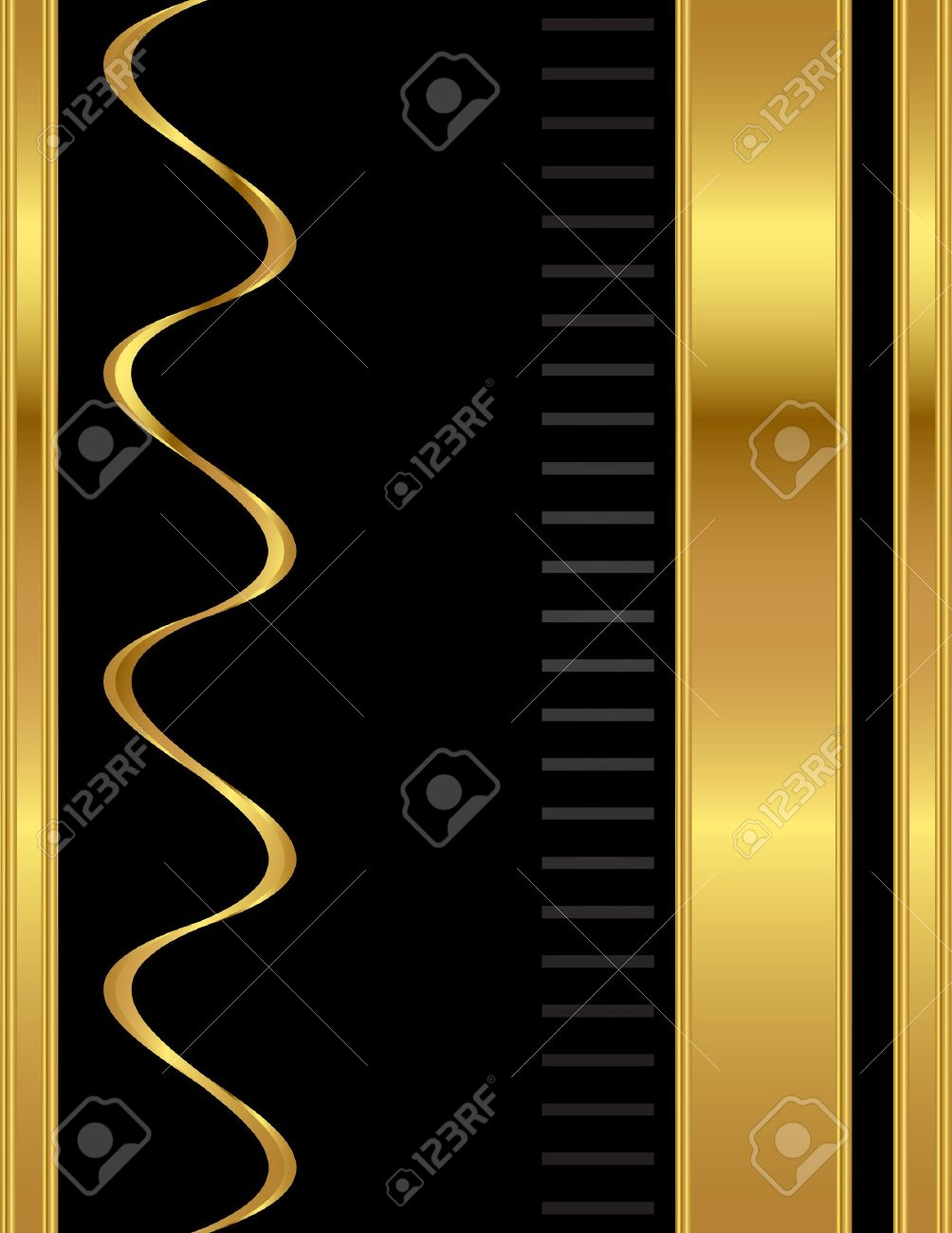 A gold and black, simple and clean, elegant and professional style A4 stationary background template vector. - 11196872